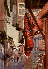 Arka Sokaklar - Back Alleys (Mineke Reinders) Tags: art turkey watercolor painting alley cityscape citadel trkiye kale ankara lifeinthecity sokak dailypainting enstantane ysplix thebestofday gnneniyisi