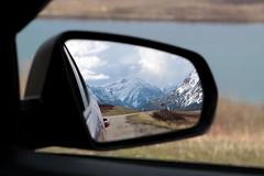 Rockies In The Rear View Mirror (martybugs) Tags: road mountain snow canada car rockies mirror alberta rockymountains rearview watertonlakes