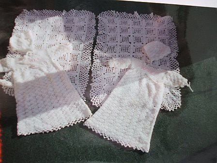 Crocheted Christening Gowns and Bonnets.