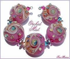 Orchid Mist (Fira Marina) Tags: pink blue orchid glass silver beads beige aqua cream rake swirls lampwork lentils firamarina