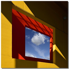 Matrioska (Nespyxel) Tags: blue light shadow red sky muro window colors lines yellow wall triangles design hole blu ombra angles finestra giallo forms buco rosso colori rectangle luce forme stefano matrioska geometrie linee rettangolo triangoli nespyxel stefanoscarselli angololi