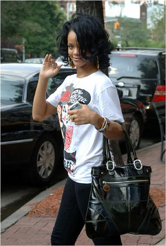 Rihanna wearing a t-shirt