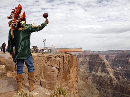 Hualapai Native American Indian tribe member at the Grand Canyon Skywalk
