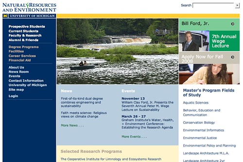 screenshot of the redesigned School of Natural Resources and the Environment website