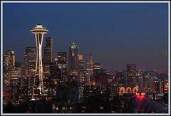 Seattle at night (wendyb1214) Tags: seattle city downtown spaceneedle seattlecenter flickrchallengegroup flickrchallengewinner