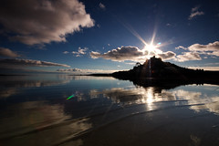Mount Vision (stevec77) Tags: uk sea england sky sun reflection water silhouette clouds reflections d50 coast cornwall bluesky nikond50 lensflare flare ripples stmichaelsmount sunflare marazion penwith mountsbay bbcopenlab taview