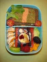 Bowhaus Breakfast Bento (lillergy) Tags: lunch avocado blackberry kawaii raspberry bento persimmon clementine kiwi smoothie obento lemoncurd breakfasttable bentoboxes bowhaus vegetablepate lillergy stiltonwithapricots darkgermanwheatbread