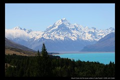 Mount Cook and the azure waters of Lake Pukaki (Heaven`s Gate (John)) Tags: newzealand vacation mountain lake snow topf25 water landscape view scenic azure southisland maori lakepukaki mountcook aoraki kodakmoment naturesfinest blueribbonwinner 10faves specland highestpeak flickrspecial johndalkin heavensgatejohn aplusphoto holidaysvacanzeurlaub goldenphotographer excapture