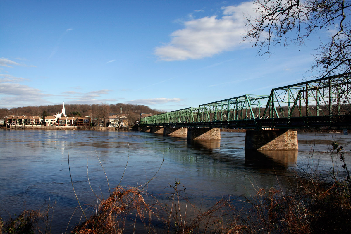 New Hope-Lambertville Toll Supported Bridge, from the banks of New Hope, PA