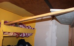 Bridge from the top bunk to the shelf