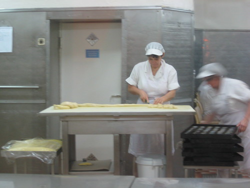 The nata-making kitchen at Pasteis de Belem, Lisbon, Portugal
