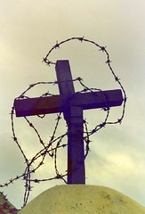 The Troubles (Peter Denton) Tags: history 35mm cross religion belfast scanned barbedwire crucifix northernireland christianity analogue northofireland ulster socialhistory shankillroad thetroubles peterdenton