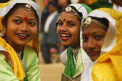Laughter and smiles (sanjayausta) Tags: girls india art girl beautiful beauty smile make up festival female dance women asia dancers dancing audience display crafts indian teeth traditional culture fair clothes ornaments laugh forms classical colourful spectators ethnic handicrafts occasion artisan cultural sanjay tikka mela whirling gujrat surajkund attire austa gujrati