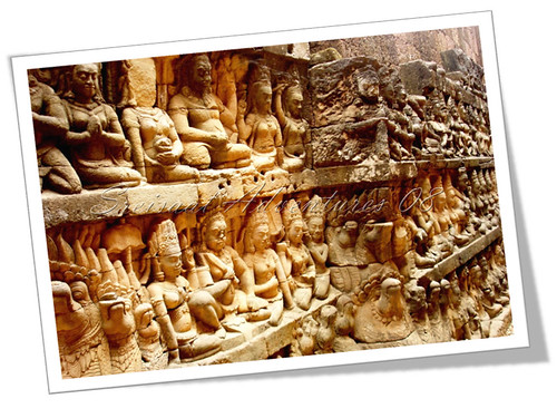 wall of apsaras and warriors