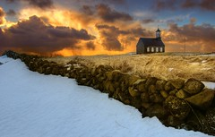 God' house by noon ... (asmundur) Tags: sky snow church colors grass wall photoshop easter iceland saturated tripod january holy noon hdr hvalsneskirkja supersaturated 3xp photomatix sangeri