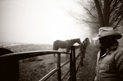 Fade-To-Black (Buck Lewis) Tags: portrait horses people blackandwhite bw film 35mm lomo lca cowboy thephotoholic