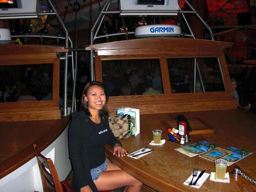 Daly at boat bow