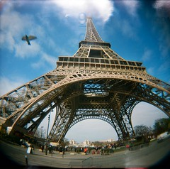 ET Bird Fisheye Holga (candersonclick) Tags: camera city sky paris france tower film birds holga skies kodak toycamera eiffel sacre fisheye plastic vignetting birdy sacrecoure coure filmisnotdead