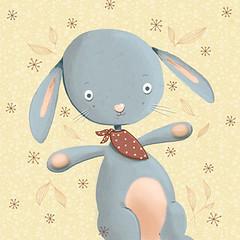 lapin version soft (MatiLou) Tags: blue red flower cute rabbit bunny fleur stars rouge sweet bleu etsy dots bébé lapin paleyellow babyillustration àpois jaunepaille matilou