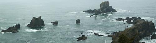 ecola state park, sea lion rocks panorama