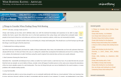 Web Hosting Rating – Articles