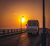 Sunset at Pamban Bridge, Ramewsaram (ashwin647) Tags: indiapictures india tamilnadu rameswaram bridge sunset goldenhour sky dawn evening road lorry pambanbridge dhanuskodi