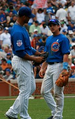 Lee and Theriot (mikepix) Tags: chicago baseball cleveland indians cubs wrigleyfield 2009 bullpinbox