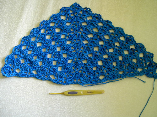 Teal crochet shawl