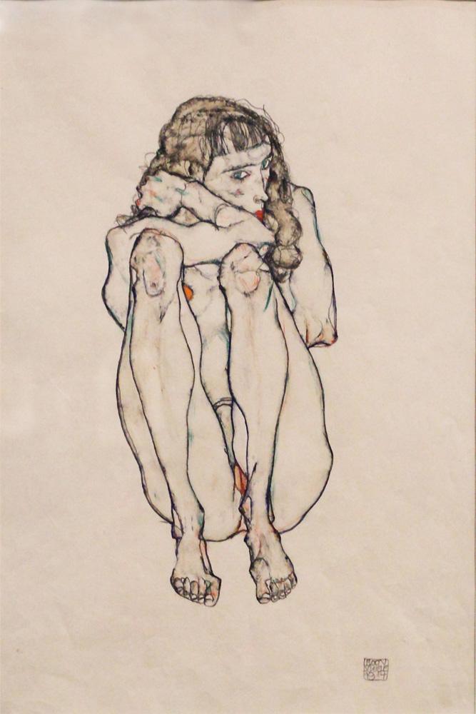 Egon Schiele, Hockender Frauenakt [Crouching Female Nude], 1914
