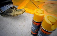 Art X Detroit (Trent Design) Tags: yellow michael paint brian detroit genna andrew x shawn install appliques ucca artx trentdesign spraychalk