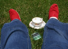 Outside! (Just_Bernard) Tags: cup grass phone tea cell jeans toms