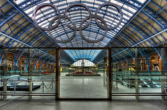 St Pancras (on your marks...) (vulture labs) Tags: city uk travel light england urban london art station st architecture train photography nikon europe cityscape eurostar railway rings olympic olympics pancras hdr lightroom photomatix stpancrasinternational vulturelabs