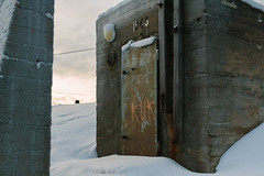 26 January, 13.23 (Ti.mo) Tags: door norway concrete graffiti iso100 war wwii january cock selected doorway bunker f28 kuk finnmark kirkenes 2014 ef50mmf12lusm 1ev  secatf28 vision:outdoor=0906