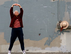 Anti aging systems and old woman exercising