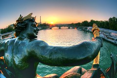 to the sun (The Other Martin Tenbones) Tags: bridge sun paris france statue seine bravo iii fisheye pont alexandre hdr effeil p1f1