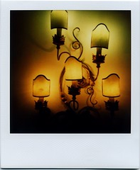 Appliques - a scary story (ale2000) Tags: black lamp yellow wall polaroid exercise giallo doctor instant dentist dentista appliques 779 polaroid1000 istantanea sx70specialblend