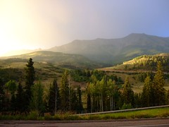 valley vista (jypsygen) Tags: road travel sunset summer vacation mist mountain holiday fog twilight haze colorado glow dusk hill evergreen pines valley telluride gravel lawsonhill