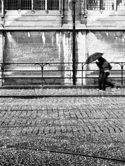 Hail Storm (Amaury Henderick) Tags: girls umbrella fence belgium belgique tracks belgi rails ghent gent meisjes filles gand paraplu hek hagel hailstorm paraplui sintniklaaskerk hagelbui churchofsaintnicholas glisedesaintnicolas