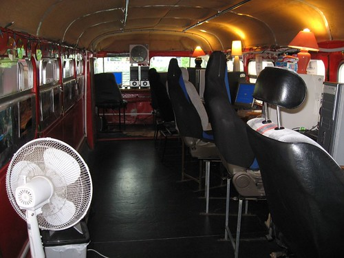 Bus turned internet cafe (faces glaciers)