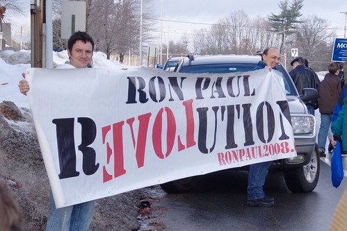 Ron Paul Supporters outside John McCain event