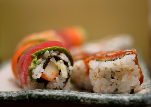 Sushi from the side.
