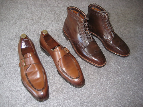 EG Ashby 808 burnt pine & Alden cigar shell Plaza wingtip boots 01