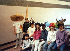 FOWND B (OnkelChrispy) Tags: kids cow outfit cowboy hats mickey jeans 80s turtleneck eighties outfits foundphotos dunce bandito
