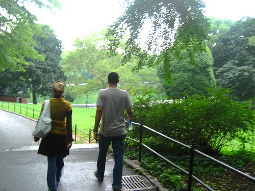 Walking through rain-drenched Central Park, July2007, New York
