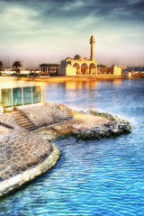 Warm Dream (Khaled A.K) Tags: sea landscape warm redsea mosque jeddah saudiarabia hdr orton bluesea 3xp