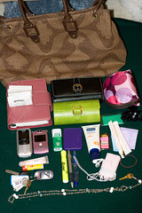 Day #6 (3.10.2008) (ashlye nicole) Tags: sunglasses hair bag keys ipod phone wallet makeup cell tie clip purse planner lotion