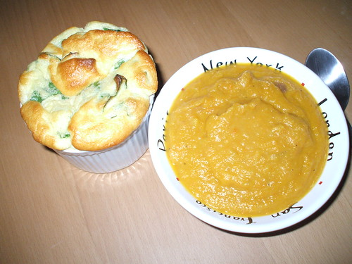 Spinach Souffle with Carrot Ginger Soup