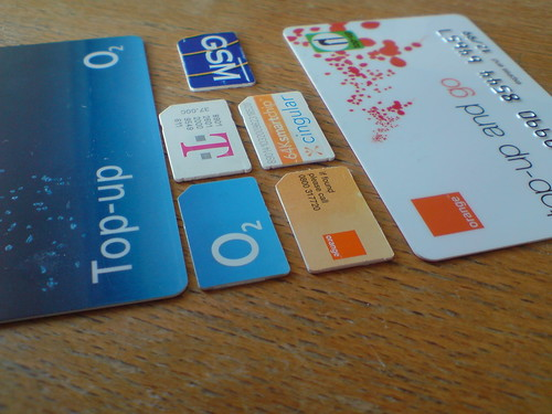 SIM cards and top-up cards for mobile phones