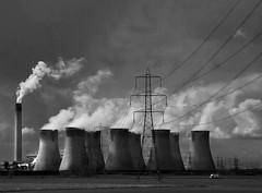 dark satanic mills (lesbru) Tags: chimney pylon industriallandscape trainview doncaster coolingtowers utatafeature d40x