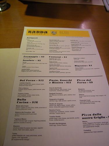 Radda menu
